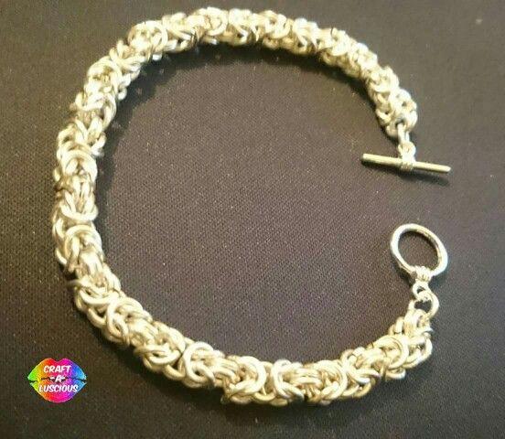 "Byzantine/Birdcage Chainmaille Bracelet <Silver> ~£20.00~ w/ Toggle Clasp Connector Gauge 18; Inside diameter: 3.57mm, 9/64"" #Handmade#Crafting#Byzantine#Birdcage#Chainmaille#Bracelet#Jewellery  Etsy listing**https://www.etsy.com/uk/listing/263857942/byzantine-chainmaille-bracelet-silver"