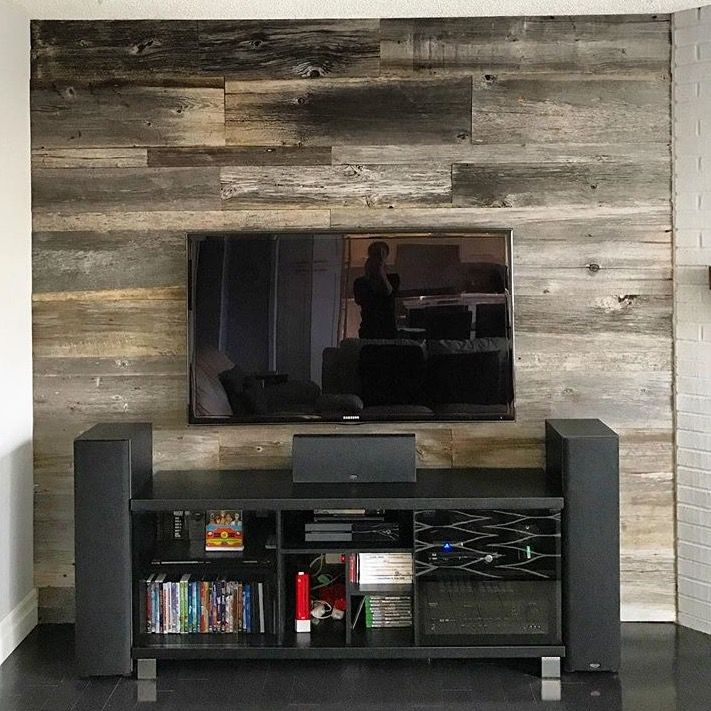 Beautiful barn board feature wall with barn board that we supplied. Looking to spruce up your room? Check out  www.jeffmackdesigns.com to see how we can help!