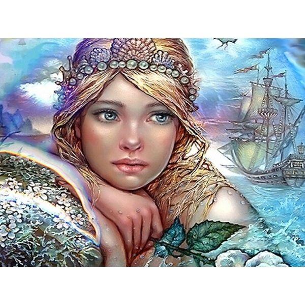 С бриллиантом инкрустация ремесла 2016 новый Diy 3d алмазная девушка в воде ручная вышивка мозаика горный хрусталь рукоделие