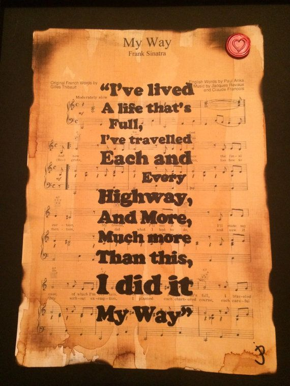 Frank Sinatra My Way song lyric typographic by Inmyheartdesigns