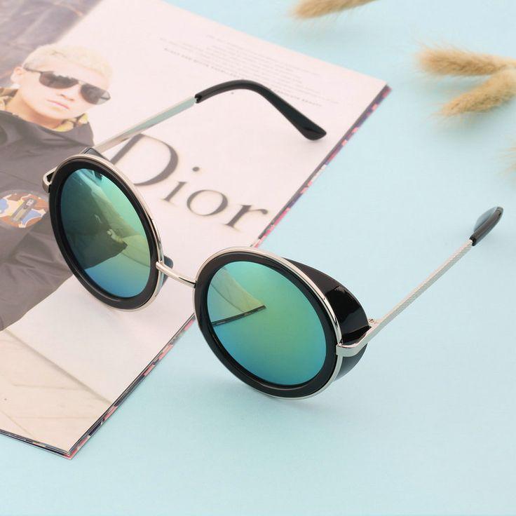 Fashion summer STEAMPUNK Retro coating mens vintage round sunglasses Men women brand design Sun glasses Worldwide sale