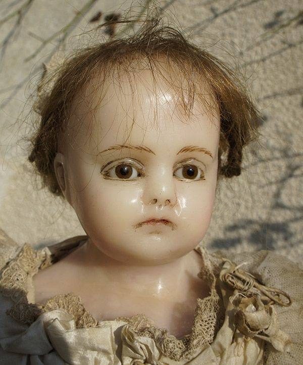 "23"" (59 cm) Antique English Poured Wax Montanari Doll in original from respectfulbear on Ruby Lane"