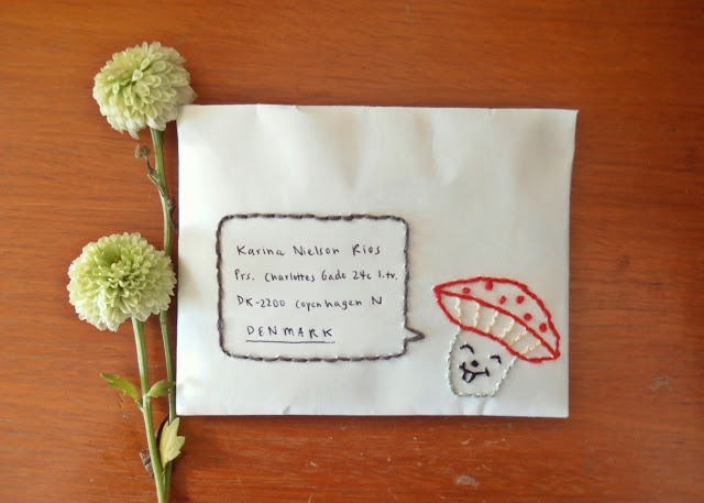 embroidered envelope - thimble