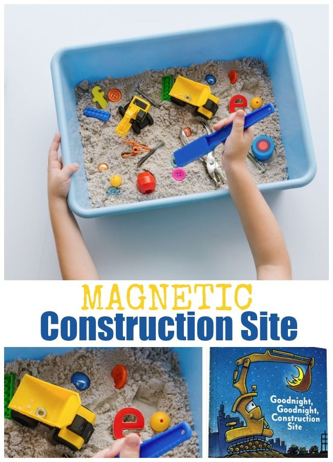 Magnetic Construction Site Activity for Preschoolers to exploring magnetic vs nonmagnetic items. A fun STEM activity for your preschooler.