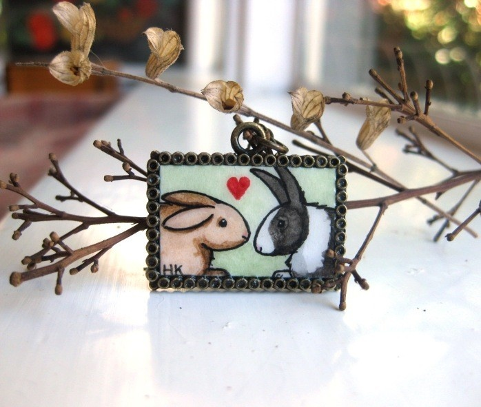 Bunny Love Necklace - Original Watercolor Art Hand Painted Necklace Pendant, Valentines Day. $43.00, via Etsy.