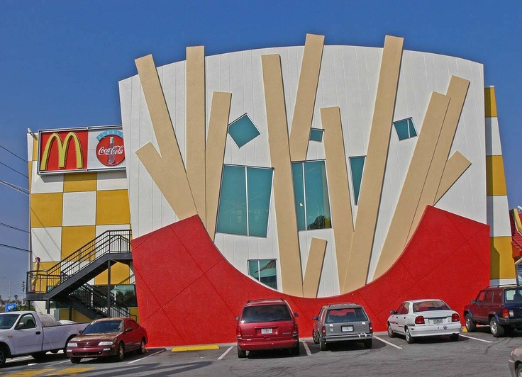 The unusual McDonald's building at Sand Lake Road and International Drive.