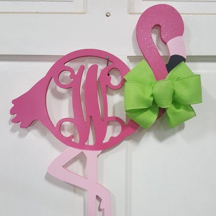 Flamingo Monogram Wooden Summer Sign Door Hanger Decor
