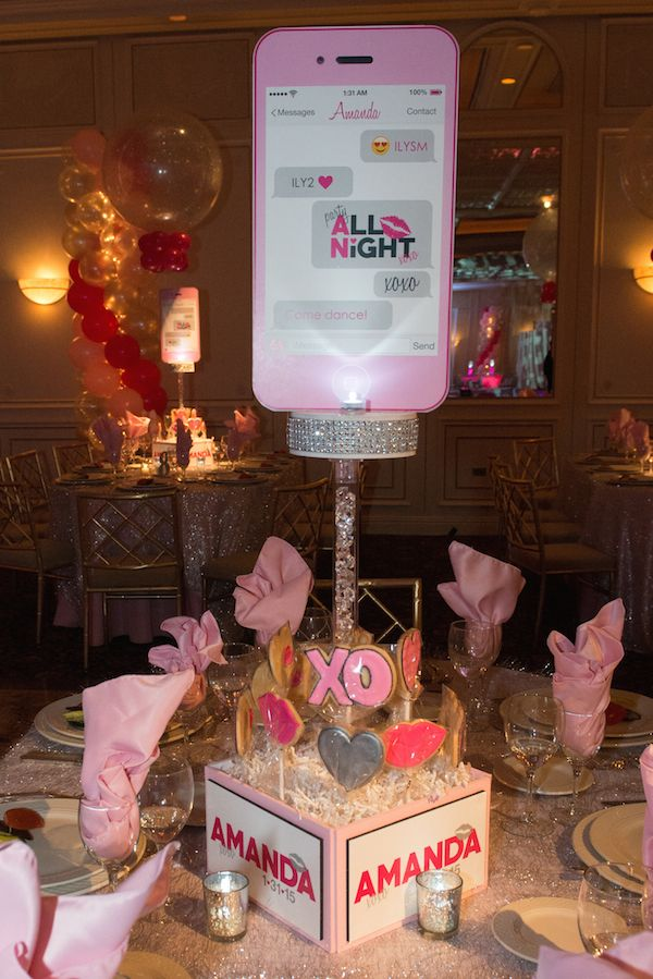 Bat Mitzvah Cell Phone Centerpieces - XOXO & Bling Theme {Party by Balloon Artistry} - mazelmoments.com