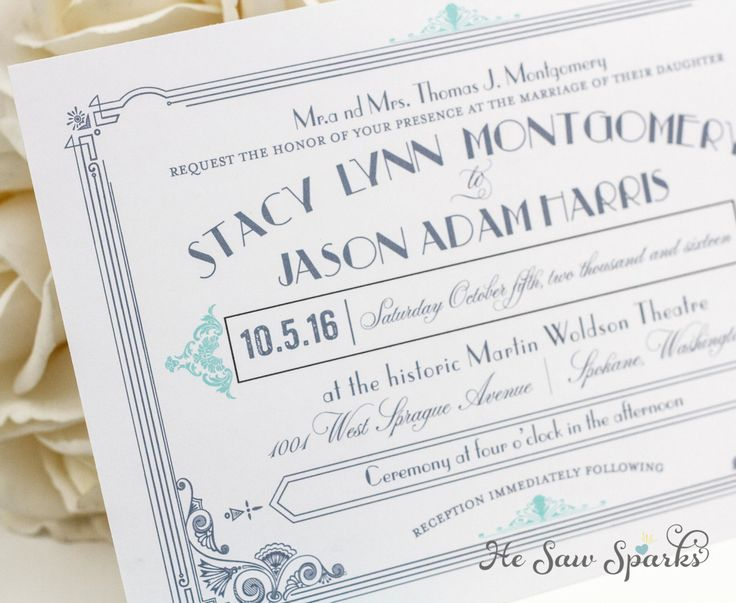 Art Deco Printable Wedding Invitation   The Great Gatsby Collection.  $40.00, Via Etsy.