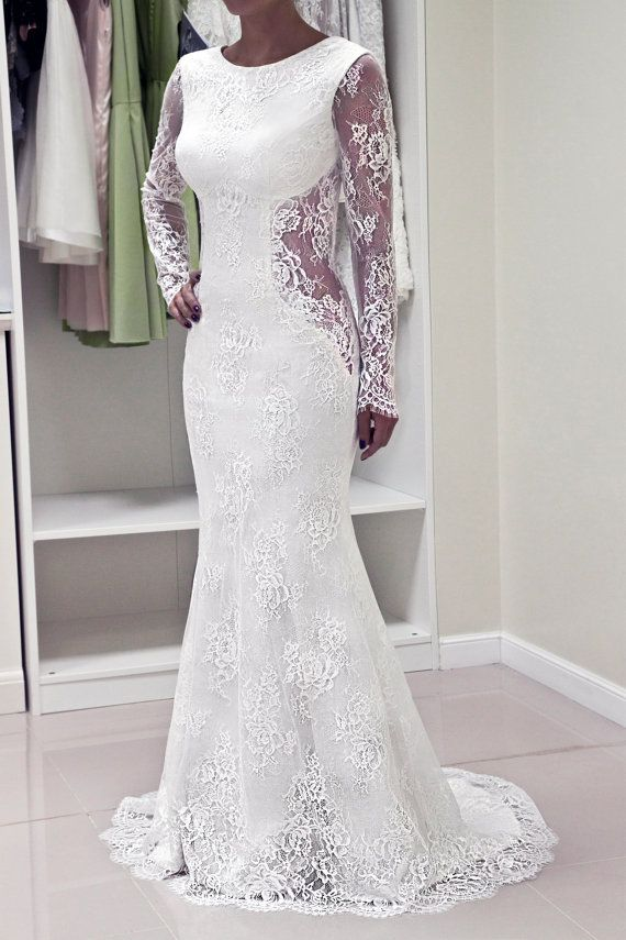 Lace Wedding Dress Custom Made Trumpet Silhouette Open Back Hourgl Gown Dresses