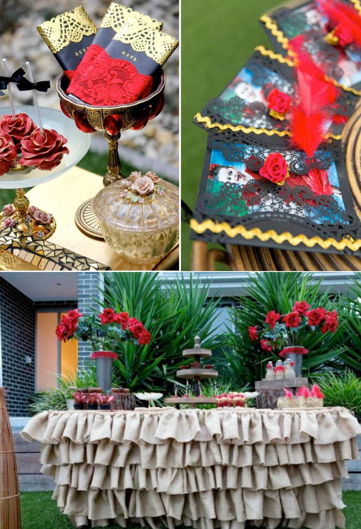 Flamenco Spanish Dancer Rose themed birthday party with tons of ideas! Via Kara's Party Ideas KarasPartyIdeas.com #spanish #dancer #flamenco...