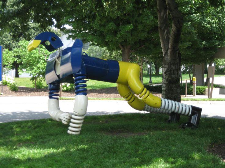 Michigan - Grand Rapids - Gerald Ford Presidential Museum - football player sculpture - 2011