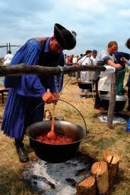 "Hungarian Goulash cooked the traditional way - over an open fire (here by a Hungarian cowboy, also known confusingly, as a ""Gulyas"". Hungarian barbecues often involve this sort of cooking, and you will see a lot of campfires at campgrounds in Hungary!"