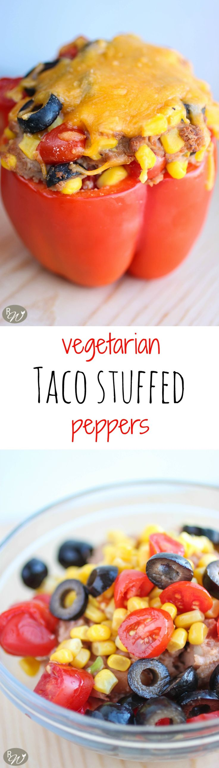 Vegetarian taco stuffed peppers--only require 6 ingredients, making this a quick, easy & healthy option for a meal! | therusticwillow.com