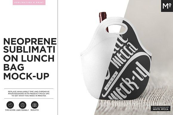 Neoprene Lunch Bag Mock-up by Mocca2Go/mesmeriseme on @creativemarket