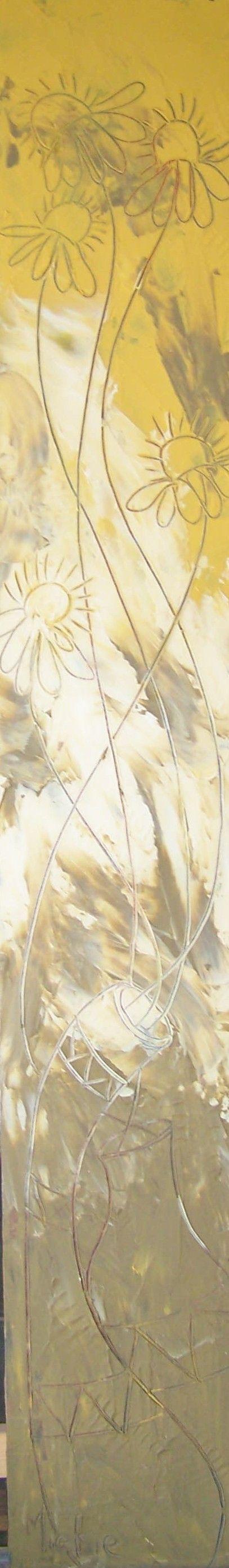 Potted beauties. Sgraffito flowers. Acrylic on masonite. 145.5 cm x 22 cm (1,5 m x 0,22 m). R500 unframed.