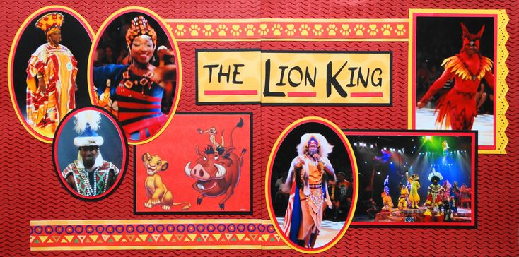 Animal Kingdom 2 page scrapbook layout of the Lion King play