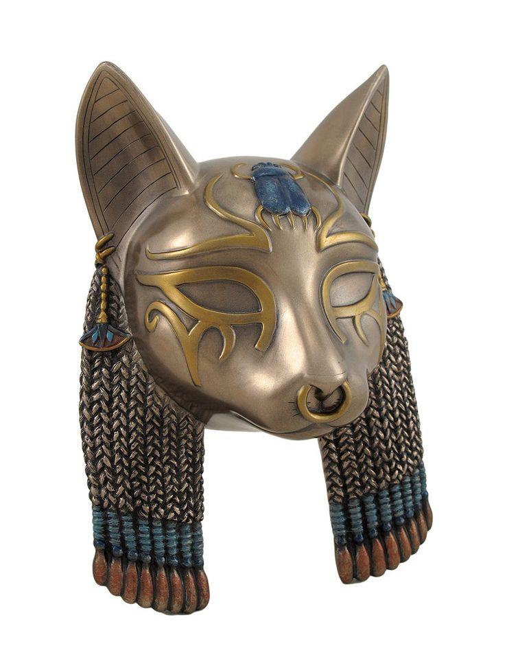 Egyptian Goddess Bastet Cat Head Mask Bronzed Wall Hanging  - Богиня Бастет Египетский кот Голова Маска Бронзовая висеть стены 7 3/4 дюймов, 5 дюймов, 3 дюймов Изготовленная из литьевой смолы Металлические бронзовая отделка Ручная роспись Акценты