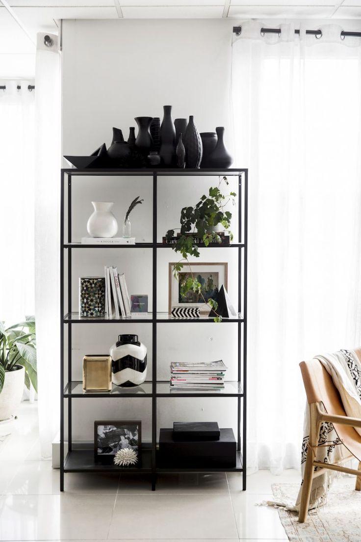 black ikea shelves | shelf styling inspo