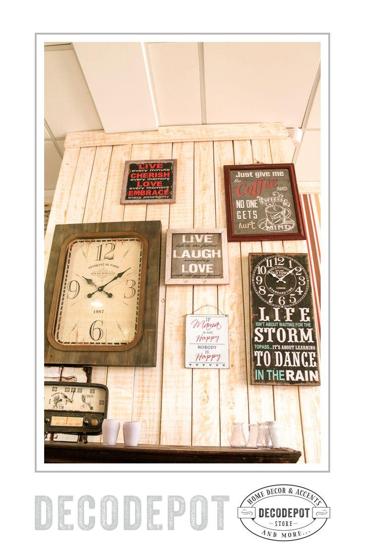 Ceasuri şi plăci decorative inscripţionate cu mesaje motivaţionale sau peisaje. DecoDepot. Decoratives. Gifts. Clocks. Board. Motivational quotes. Braşov.