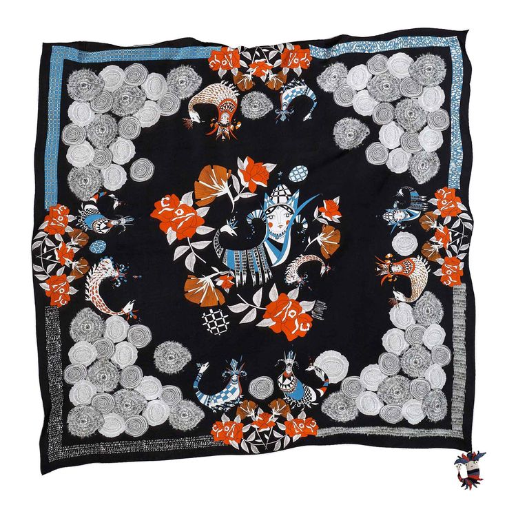 """Rumisu - Shahmaran print  silk scarf from Fall/Winter 17-18 """"Marching with Myths"""" collection"""