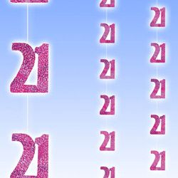 M55323 - Happy 21st Birthday Strings Strings Happy 21st Birthday Glitz Pink 6 x 1.5m strings of pink glitter 21st's - Pack of 6. Please note: approx 14 day delivery