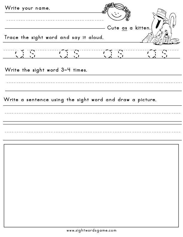 33 Best Sight Word Worksheets Images On Pinterest Children Writing