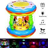 Baby Toys & HXSNEW Musical Toys  Toddler toys & Childrens Favorite Colorful Projection Lights & Musical Learning Entertainment Kids Drum Set toys for 1-3 year old (Medium Size)