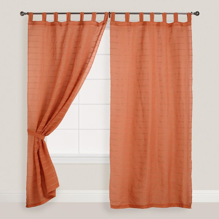 Our lightweight vibrant, orange curtains are perfect for any room in your home. Natural jute fiber is woven horizontally into this lightweight cotton curtain, giving it texture and visual interest - plus, the lively shades of rust orange complements a variety of decors.