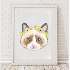 Kitten flower crown watercolour print