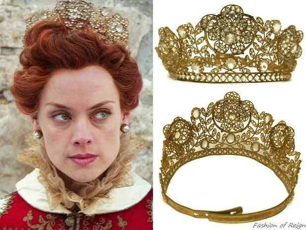 """In the episode 3x18 (""""Spiders in a Jar"""") Queen Elizabeth wears the antique mid-1800s French Tiara Crown from Etsy's LeBonheurDuJour shop. FIY According to the shop owner's description this tiara once decorated a life sized statue of the Virgin Mary in a French church! Worn with the antique capelet from WhyNaughtShop, vintage Miriam Haskell earrings."""