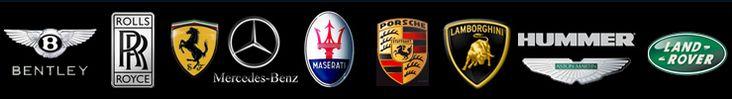 Bentley, Rolls Royce, Ferrari, Mercedes, Maserati, Porsche, Lamborghini,mHummer and Land Rover