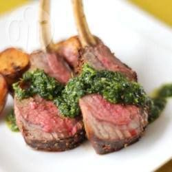Spice Crusted Rack of Lamb with Coriander and Mint Sauce | For a Christmas dinner rack of lamb this recipe can't be beaten! Watch this recipe being made in the Allrecipes Rack of Lamb Video. |@ allrecipes.com.au