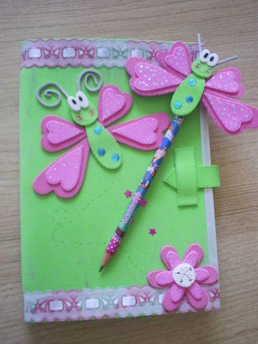 cadernos decorados com eva e tecido passo a passo menino e menina - Pesquisa Google
