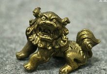 67110301+++FengShui China Chinese Brass Copper Animals Foo Fu Dog Lion Statue Figurine 001