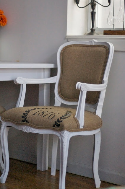 a lovely escape: refurbished chairs with printed burlap