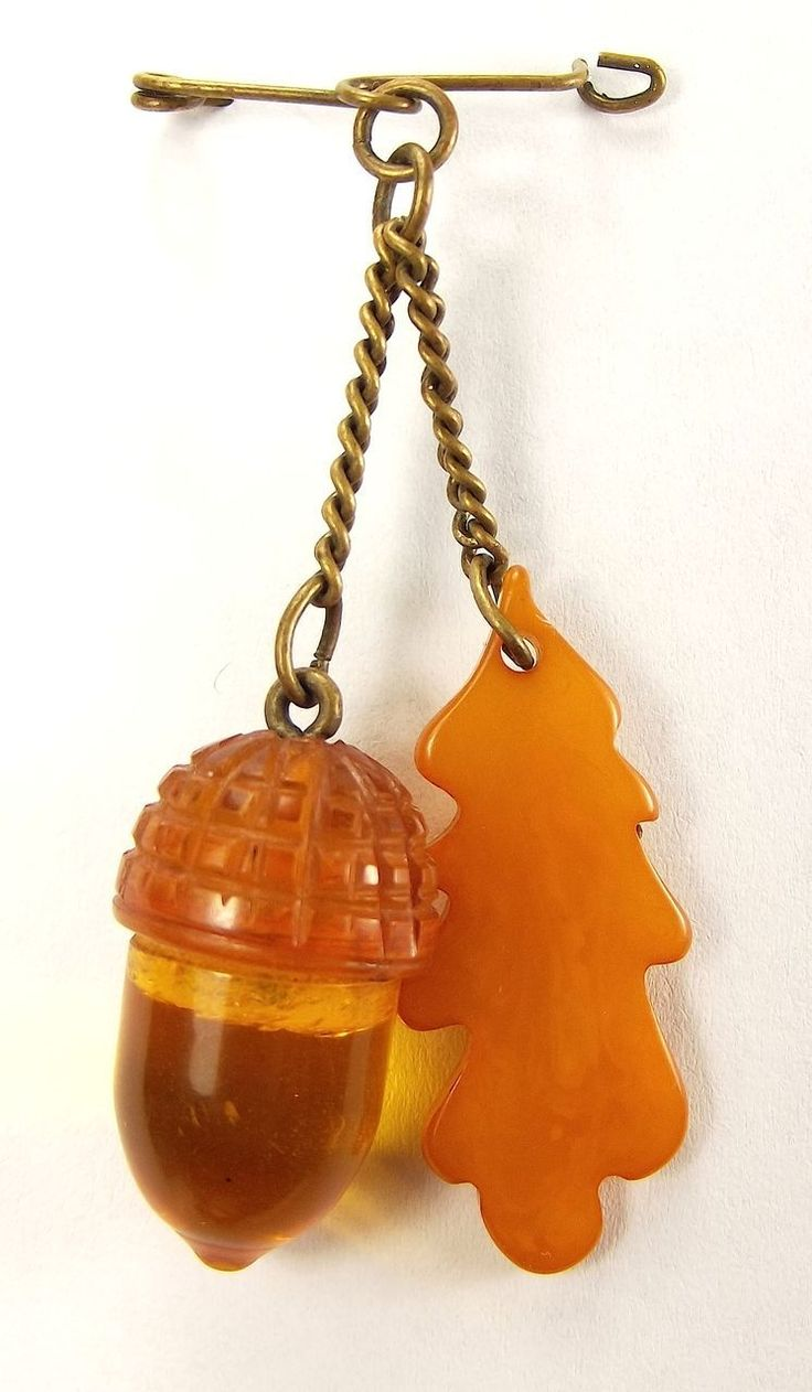 Antique Baltic Amber Acorn Pin Fob Charm (Ruby Lane, Orange Tree Collectables)