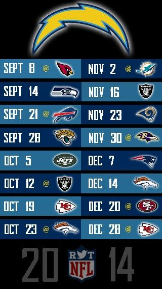 NFL 2014 SAN DIEGO CHARGERS IPHONE 5 WALLPAPER SCHEDULE