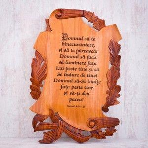 "Tablou din lemn ""Domnul sa ne binecuvanteze si sa te pazeasca!"" #woodenboard #christianverse"