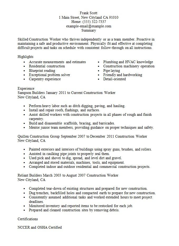 Resume Sample For Construction Worker RESUMESDESIGN