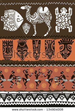 Illustration vector.Ethnic ornament set. Seamless vector tribal texture.Animals set by IVANCHINA ANNA, via Shutterstock