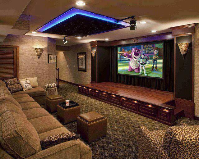 Home cinema room- kinda love that there is a stage - kids would love it !!!!