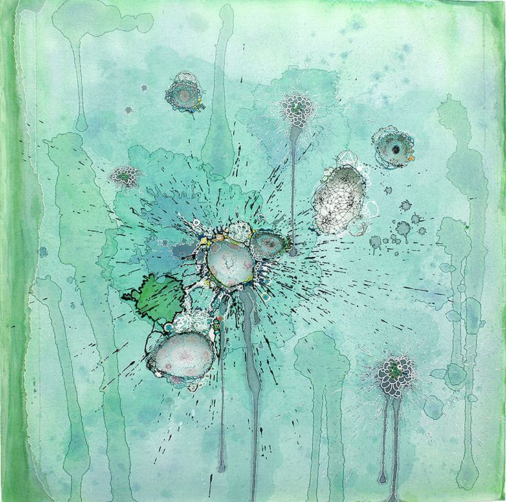 Blues and greens and dreams. Structurally Sound by Nava Lubelski. Thread on Stained Canvas.