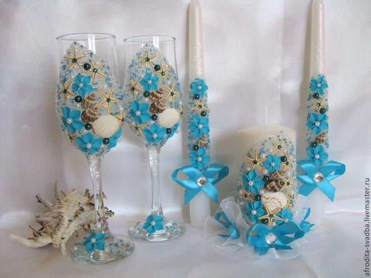 """Купить Свадебный набор """" В морском стиле"""" - свадьба, свадебные аксессуары, подарок на свадьбу"""