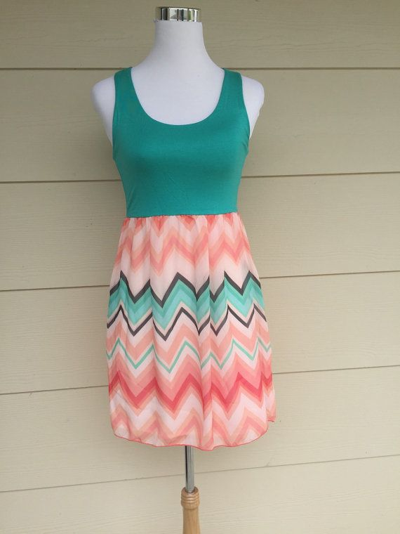Women's dark mint chevron dress - peach, mint, ivory, coral chevron print mini dress tank dress by decorplace. Explore more products on http://decorplace.etsy.com