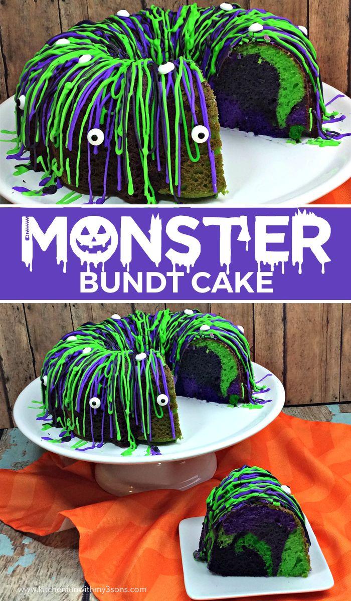 Monster Bundt Cake - fun Halloween recipe for kids.
