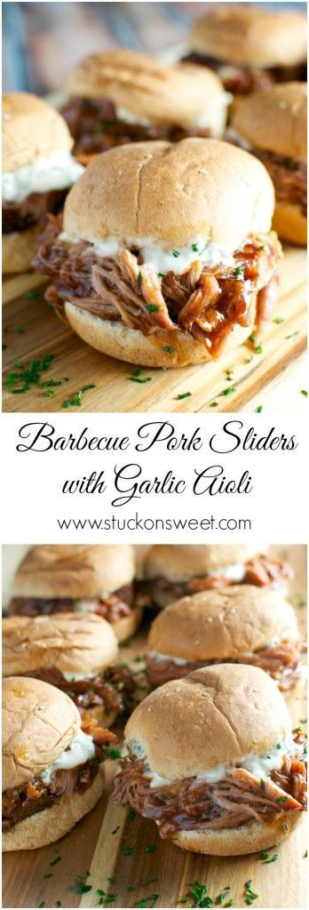 Barbecue Pork Sliders with Garlic Aioli - pork shoulder is placed in slow cooker for 8 hours then shredded and mixed with your favorite bbq sauce! Perfect for weeknight dinners and game day! | www.stuckonsweet.com
