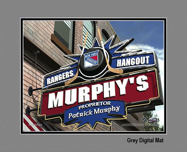 New York Rangers NHL Hockey - Personalized New York Rangers Pub Hangout Print / Picture. Now, with our Personalized NHL Sports Pub Hangout Print, your favorite fan can become the Proprietor of THEIR OWN Sports Bar! This exciting gift is perfect for any NHL hockey fan. Optional framing with mat is available. Perfect for gifts, rec room, man cave, bar, office, etc.  (http://www.oakhousesportsprints.com/new-york-rangers-pub-hangout-print/)