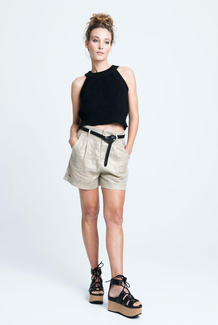 sara bailes x knit crop x linen shorts