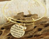 Hand Stamped Bangle Bracelet, Mother/Daughter Bracelet - Gold Bangle Charm Bracelet - Alex and Ani Style